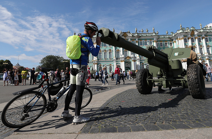 An exhibition of military equipment marking the 73rd anniversary of the end of the Battle for Leningrad, in Palace Square, Saint Petersburg, Russia, August 8