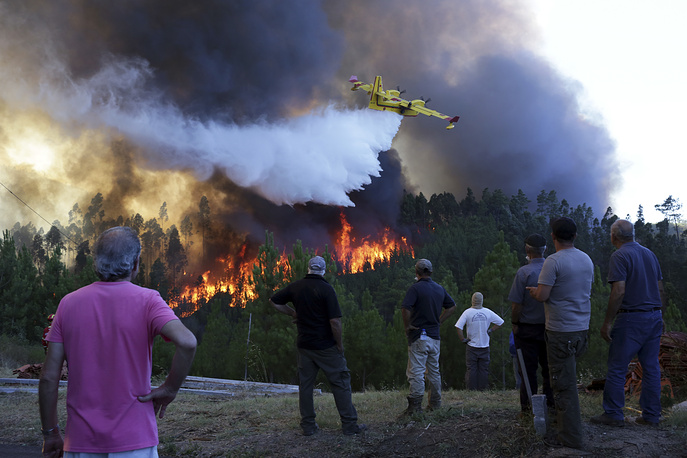 People watch a firefighting plane drop water to stop a raging forest fire reaching their houses just a few dozen meters away in the village of Chao de Codes, central Portugal, August 16