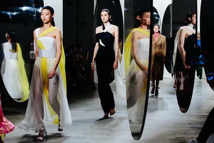 Models present creations from the Prabal Gurung collection at the New York Fashion Week Spring 2018 in New York, USA, September 10