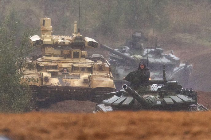 The main stage of Zapad-2017 military exercises at a training ground at the Luzhsky Range, near St. Petersburg