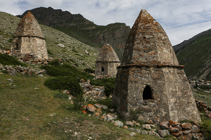 An ancient burial site in the Chegem Gorge, the Caucasus Mountains,  republic of Kabardino-Balkaia