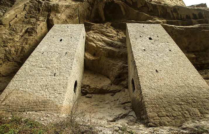Ushkaloi watchtowers located in the narrowest space of Argun's canyon in the Chechen republic
