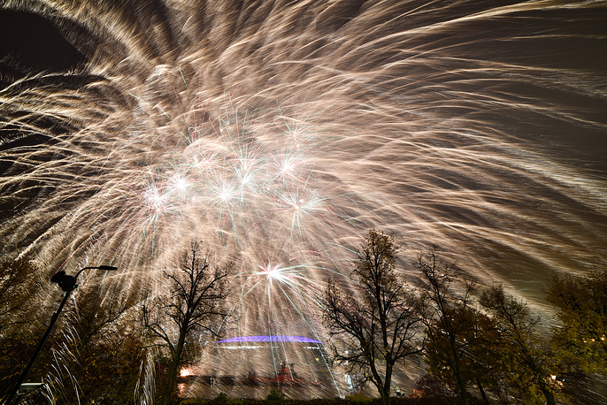 Fireworks light up Moscow skies at the 2017 World Festival of Youth and Students, Russia, October 14