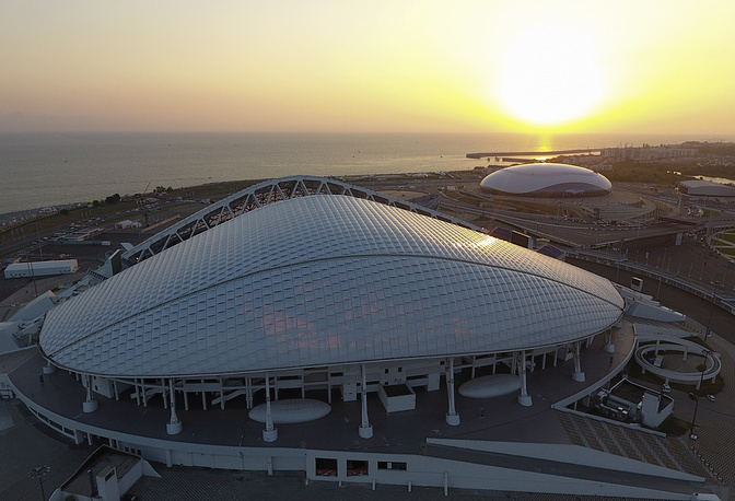 An aerial view of the Fisht Stadium in Sochi
