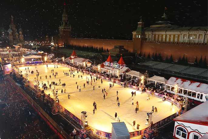 People skating on a GUM ice rink on Moscow's Red Square
