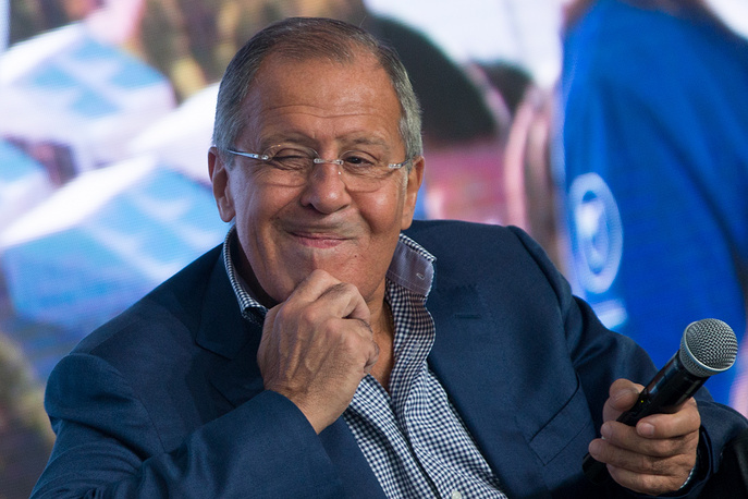 Russia's Foreign Minister Sergei Lavrov speaks at Terra Scientia on the Klyazma River, Russian educational youth forum, August 11