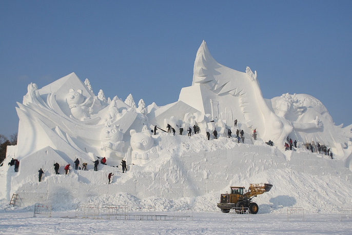 The Harbin International Ice and Snow Sculpture Festival is the largest one in the world