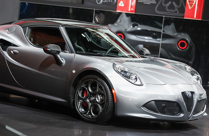 An Alfa Romeo 4C Coupe is displayed at the 2018 North American International Auto Show