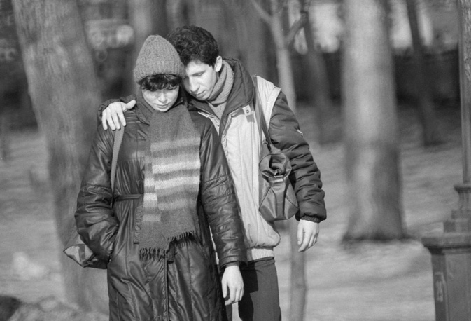 A couple walking together in a park, Moscow, 1984