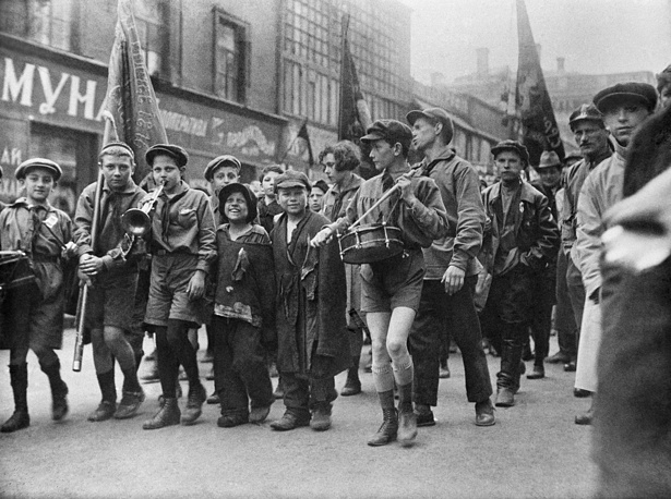 Homeless children march in a pioneer column during a Labor Day demonstration in Moscow, 1927
