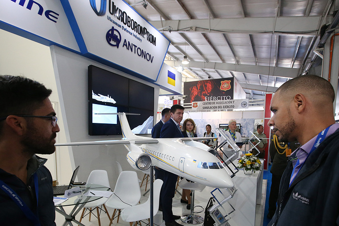 Ukraine's Ukroboronprom State Concern stand at the FIDAE 2018 expo