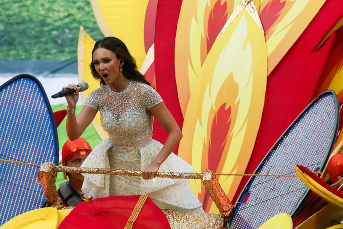 Russian soprano Aida Garifullina performs at the opening ceremony of the 2018 FIFA World Cup in Moscow