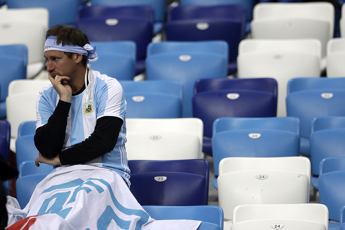 An Argentinian fan reacts after the group D match between Argentina and Croatia in Nizhny Novgorod. Croatia won 3-0