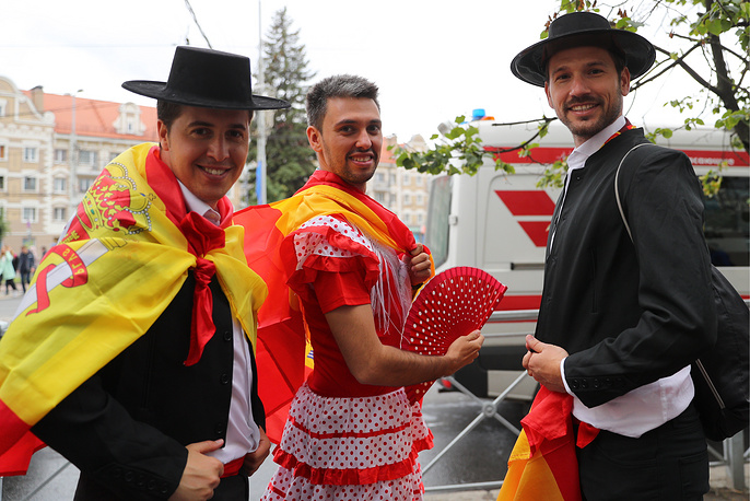 Dressed up Spanish football fans