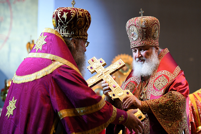 Patriarch Kirill of Moscow and All Russia holds a service at the Church of All Saints in Yekaterinburg ahead of a religious procession marking the centenary of the execution of the Russian royal family, July 17
