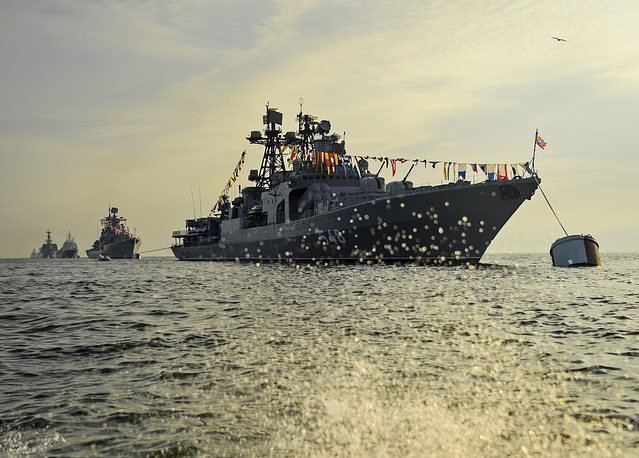 The Admiral Panteleyev destroyer takes part in the dress rehearsal of a parade marking the Day of the Russian Navy in the Amur Bay, July 26