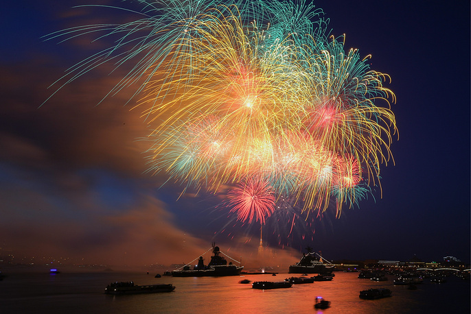 Fireworks over the Neva River in central St Petersburg on Russian Navy Day, July 29