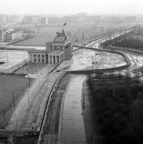 Berlin's historic Brandenburg Gate was put behind part of the wall erected by the East German regime to separate East Berlin and West Berlin, 1961