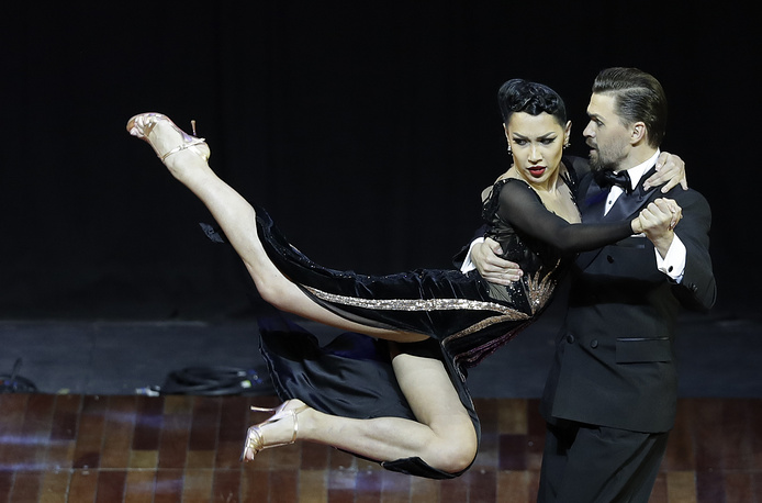 Russian couple Dmitry Vasin and Sagdiana Khamzina compete to win the stage category at the World Tango Championship final in Buenos Aires, August 22