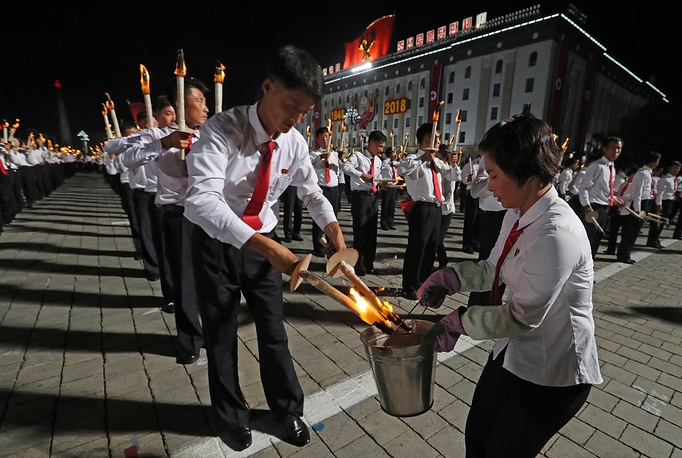 Tens of thousands of North Koreans rallied in Pyongyang's Kim Il Sung Square in the final major event of the country's 70th anniversary, an elaborate celebration that was focused on Korean unity and economic development
