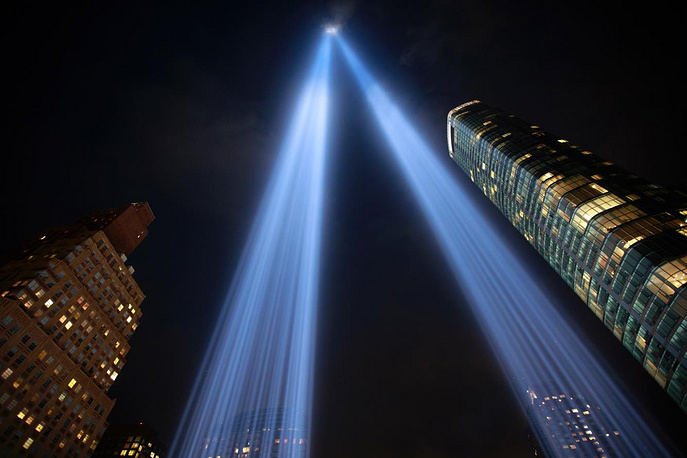 The 'Tribute in Light' rises skyward in Lower Manhattan, New York City, September 11. In New York City and throughout the United States, the country marked the 17th anniversary of the September 11 terrorist attacks