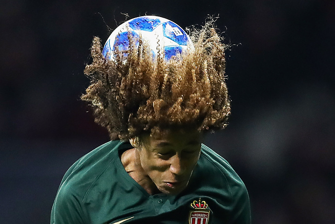 Han-Noah Massengo in 2018/19 UEFA Champions League Group A Round 5 football match against Atletico Madrid at Madrid's Wanda Metropolitano, November 28