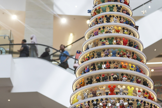 Cartoon character 'Mickey Mouse' Christmas tree decorations at the shopping mall in Kuala Lumpur, Malaysia