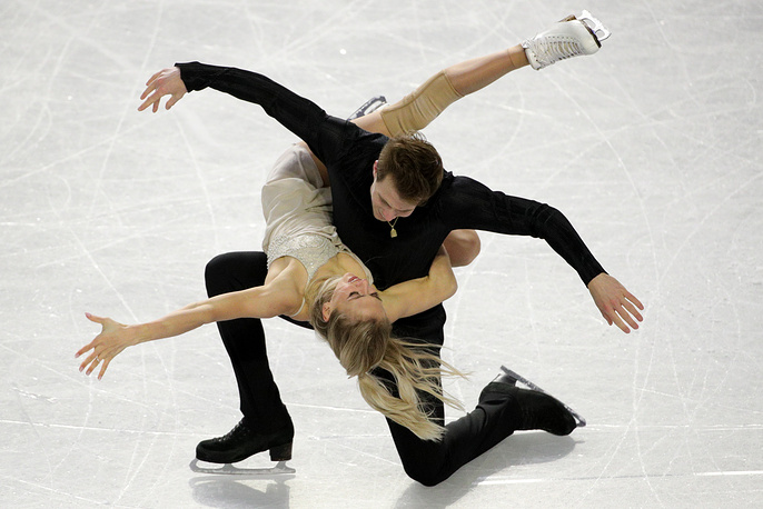 Ice dancers Victoria Sinitsina and Nikita Katsalapov of Russia perform during the free dance event at the 2018-19 ISU Junior Grand Prix of Figure Skating final at the Doug Mitchell Thunderbird Sports Centre, December 8