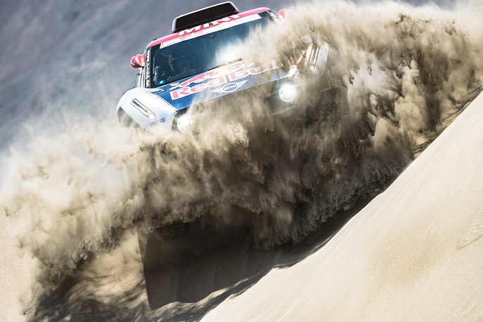 Cyril Despres of X-Raid MINI JCW Team races during stage six of the Dakar Rally from Arequipa to San Juan de Marcona, Peru