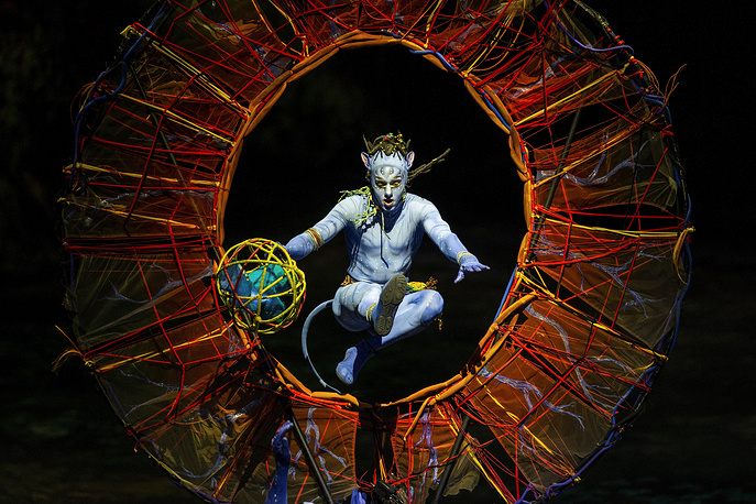 A 'Cirque du Soleil' member performs on stage during the presentation of the spectacle 'Toruk, the first flight' held at the Wizink Center in Madrid, January 30