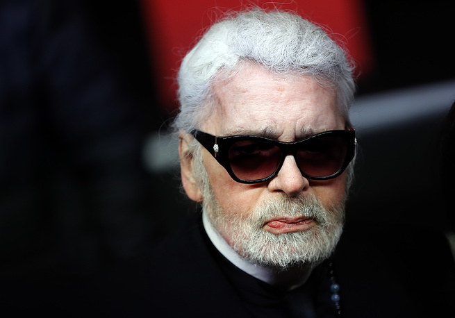 Fashion designer Karl Lagerfeld at the Champs Elysee Avenue illumination ceremony for the Christmas season, in Paris, 2018
