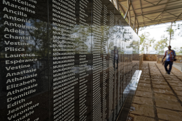 The names of those who were slaughtered are written on a memorial to the thousands who were killed during the 1994 genocide, outside the church in Ntarama, Rwanda