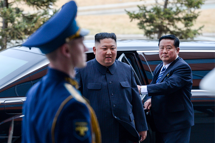 North Korean Leader Kim Jong Un is seen ahead of a meeting with Russia's President Vladimir Putin at the Far Eastern Federal University on Russky Island