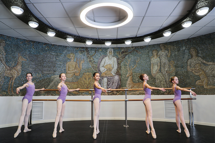 Students are seen during a classical ballet class at Sviatoslav Richter Children's Art School, Moscow, April 24