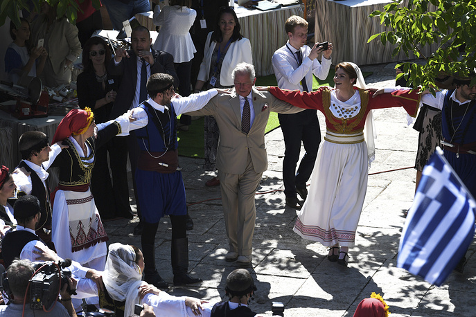 Britain's Prince Charles dancing to traditional Greek music in the town of Arhanes, Crete, Greece, 2018