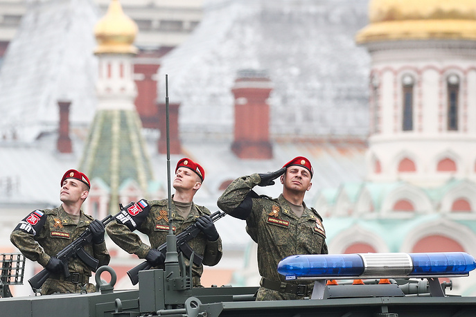 Military police officers are seen during a Victory Day military parade in Moscow