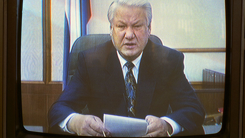 Boris Yeltsin, president of the Russian Federation, addressing the country's citizens. Photo ITAR-TASS/ Boris Kavashkin
