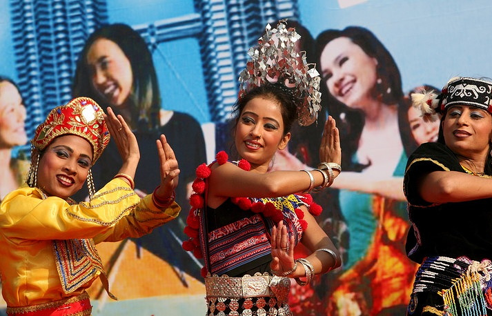 Dance troupe perform the cultural performance showing the Malaysian multi cultural diversity EPA/HARISH TYAGI