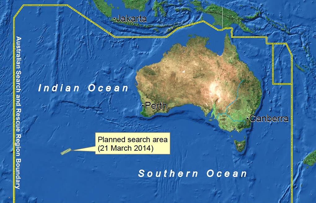 Planned map of the search area for missing Malaysia Airlines flight MH370 conducted by AMSA  EPA/AMSA