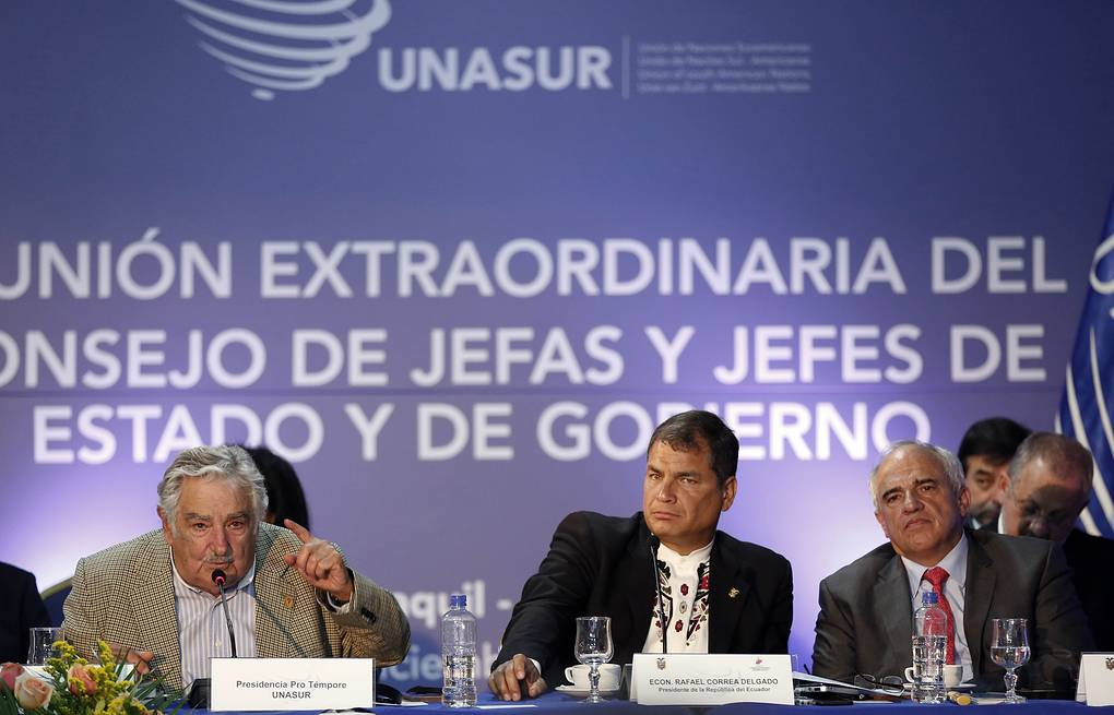 Jose Mujica, Rafael Correa and Ernesto Samper AP Photo/Dolores Ochoa