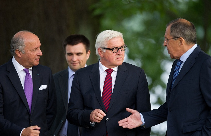 The foreign ministers of France, Ukraine, Germany and Russia AP Photo