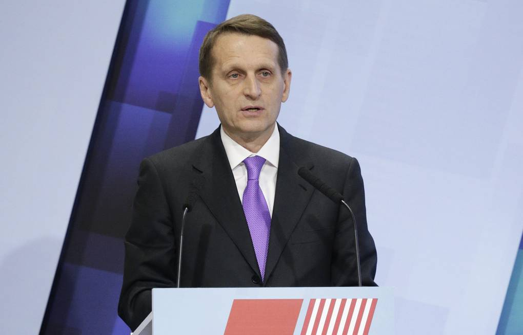 Russia's lower house speaker Sergey Naryshkin  Alexandr Shalgin/Russia's parliament press service/TASS