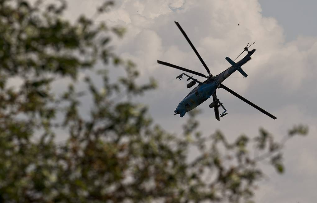 A Ukrainian helicopter gunship outside Donetsk, Ukraine, May 26, 2014 AP Photo/Vadim Ghirda
