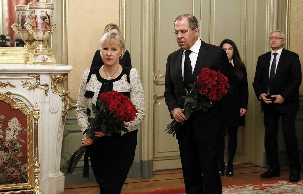 Swedish and Russian foreign ministers, Margot Wallstrom and Sergey Lavrov  Mikhail Japaridze/TASS