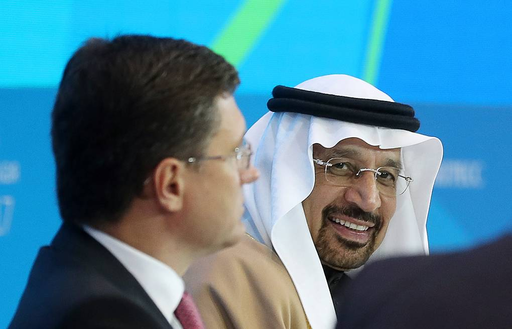 Russian Energy Minister Alexander Novak and Khalid A. Al-Falih, Minister of Energy, Industry and Mineral Resources of Saudi Arabia Artiom Korotaev/TASS