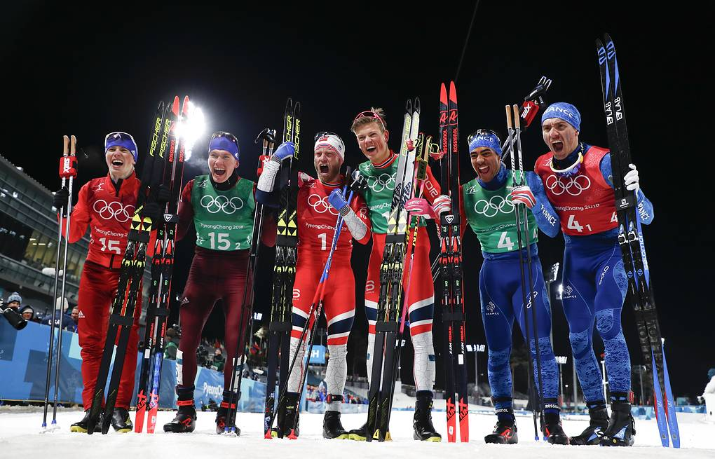Gold medal winners Martin Johnsrud Sundby, of Norway and Johannes Hoesflot Klaebo, silver medal winners Denis Spitsov, of the team from Russia, and Alexander Bolshunov and bronze medal winners Richard Jouve, of France, and Maurice Manificat  AP Photo/Matthias Schrader