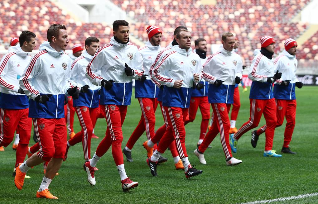 Players of the Russian national football team training for a friendly match against Brazil  Valery Sharifulin/TASS
