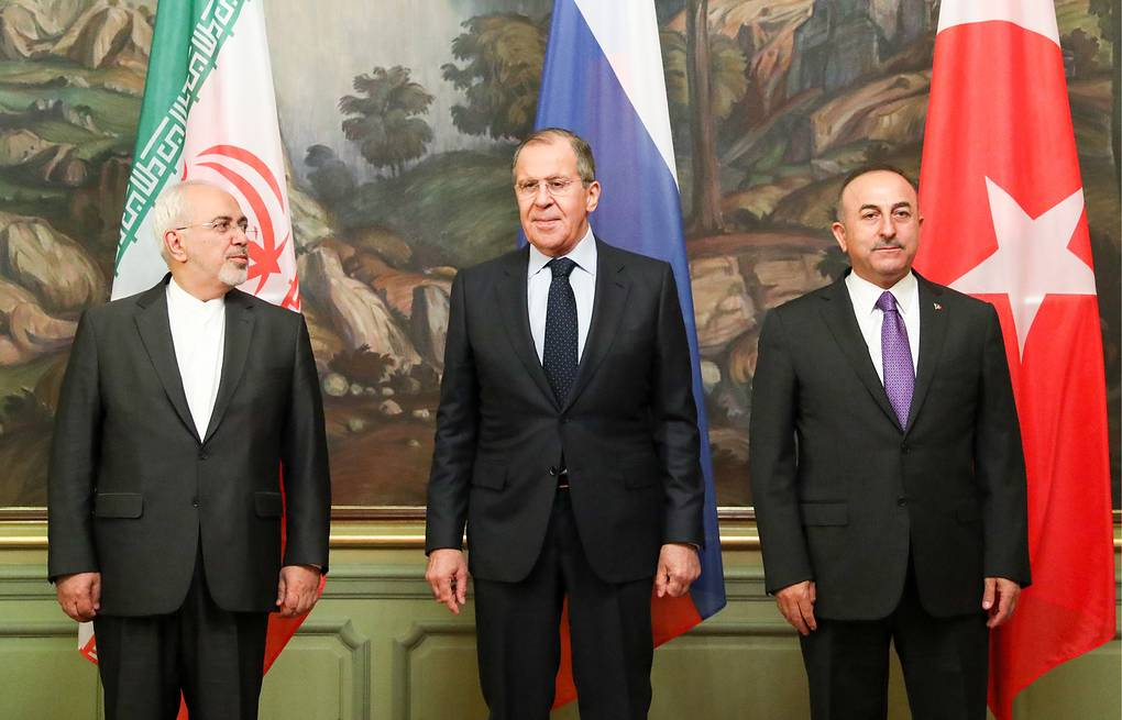 Iran's Foreign Minister Mohammad Javad Zarif, Russia's Minister of Foreign Affairs Sergey Lavrov and Turkey's Foreign Minister Mevlut Cavusoglu Stanislav Krasilnikov/TAS
