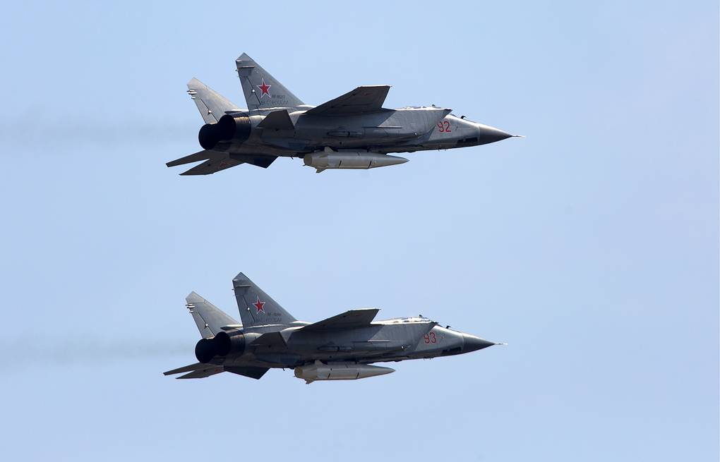 MiG-31K fighter jets with Kinzhal hypersonic missiles Yulia Loris/TASS