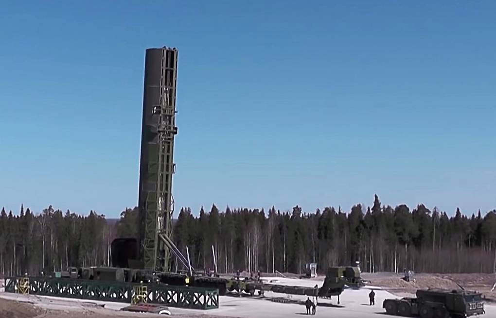 RS-28 Sarmat intercontinental ballistic missile  Russian Defense Ministry/TASS